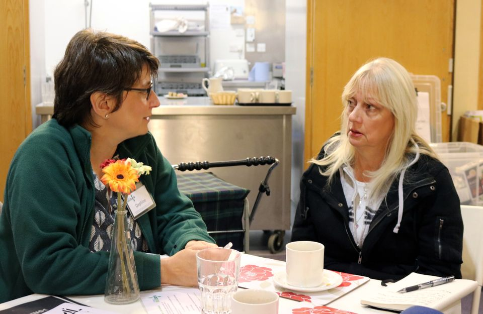 Food bank manager Daphine Aikens talks to Maggie Millard about her situationon a recent