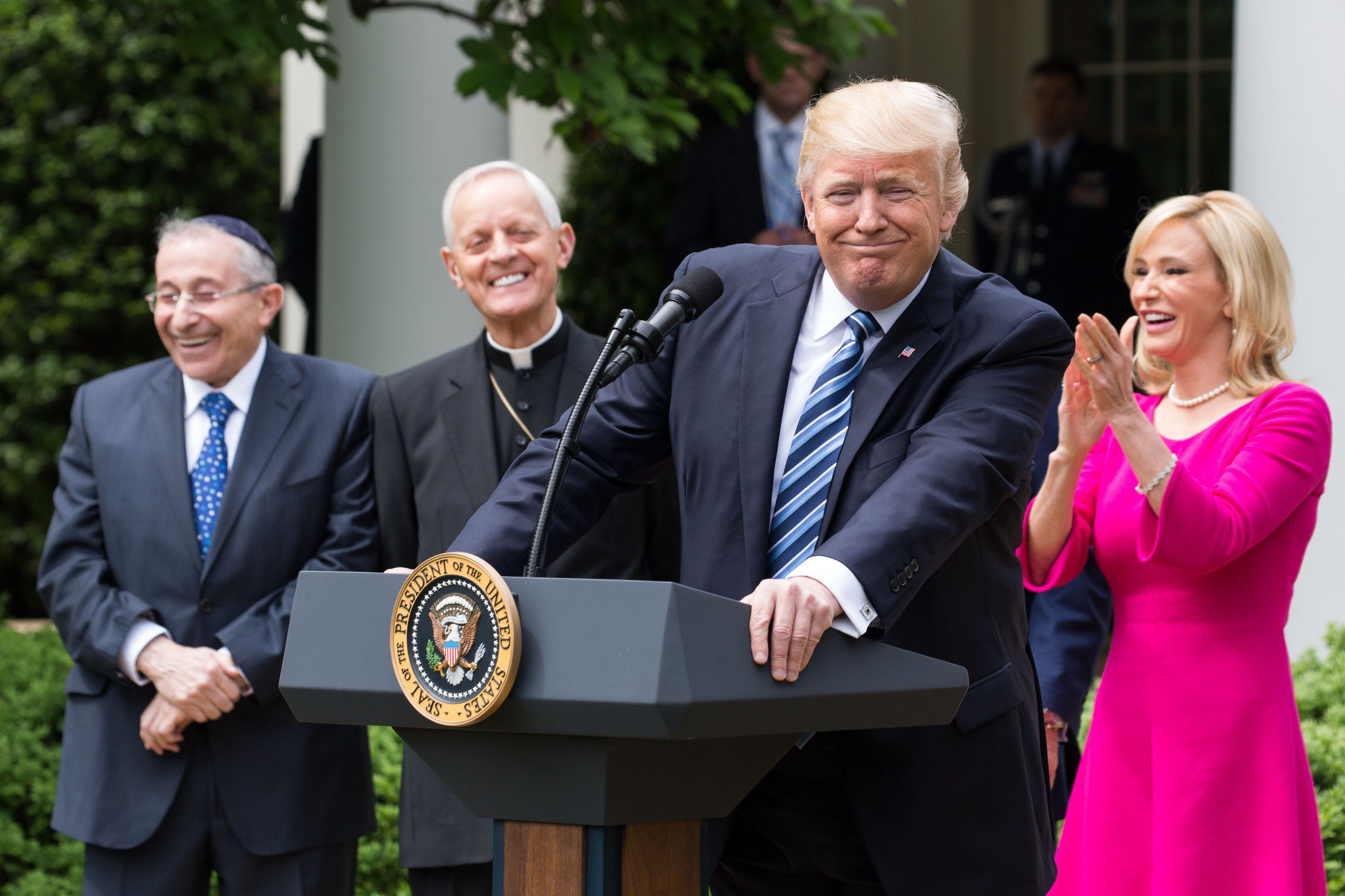 President Trump, at the National Day of Prayer ceremony, in the Rose Garden of the White House, On Thursday, May 4, 2017. (Photo by Cheriss May/NurPhoto via Getty Images)