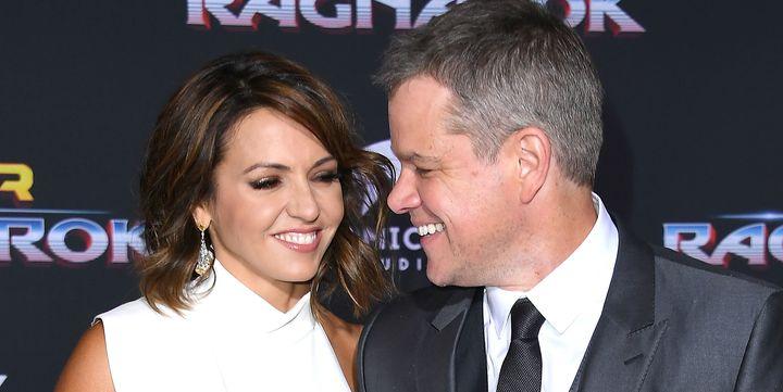 "Luciana Barroso and Matt Damon at the ""Thor: Ragnarok"" premiere Oct. 10."
