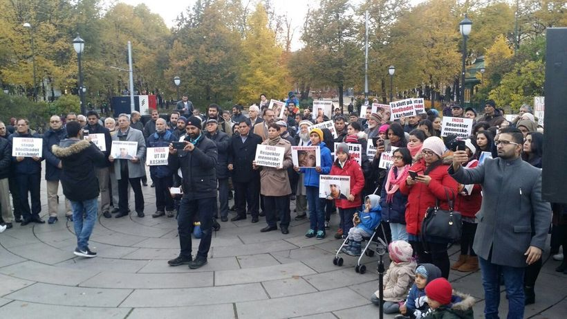 A protest rally in Oslo against use of fatal pellet bullets in Indian side of Kashmir.