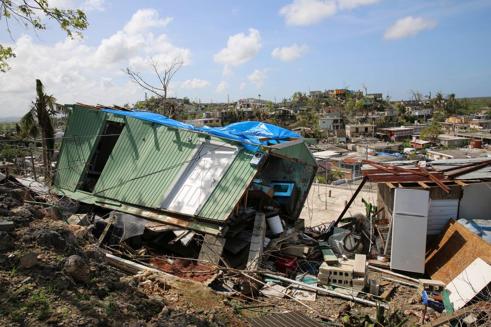 A house flattened by Hurricane Maria in Villa Hugo 2, a community within the city of Canóvanas,...