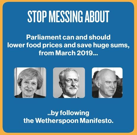 <strong>'Parliament can and should lower food prices and save huge sums'&nbsp; - the slogan on one of the beer mats.</strong>