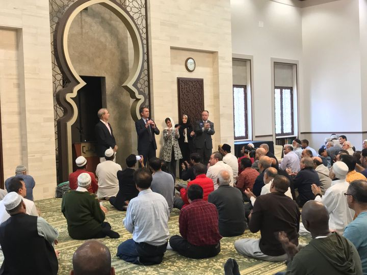 Virginia Democratic gubernatorial candidate Ralph Northam addresses worshippers at a mosque after Friday prayers.