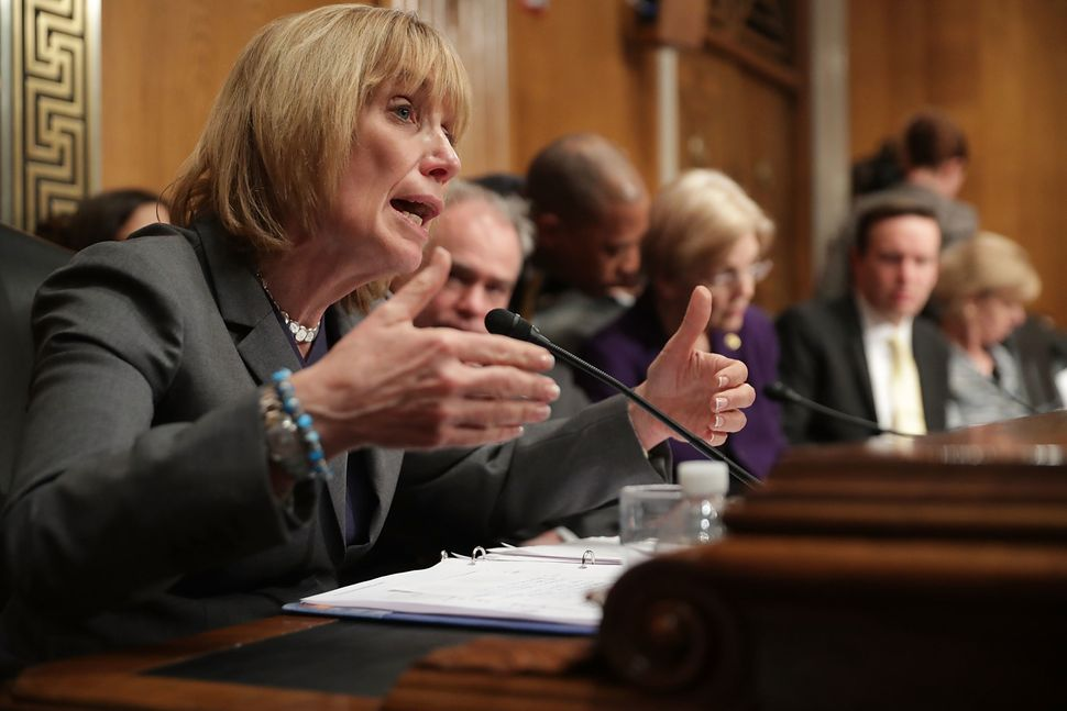 Senate Health, Education, Labor and Pensions Committee member Sen. Maggie Hassan (D-NH) questions Betsy DeVos in January.