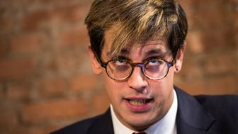 NEW YORK, NY - FEBRUARY 21: Milo Yiannopoulos speaks during a press conference, February 21, 2017 in New York City. After comments he made regarding pedophilia surfaced in an online video, Yiannopoulos resigned from his position at Brietbart News, was uninvited to speak at the Conservative Political Action Conference (CPAC) and lost a major book deal with Simon & Schuster. (Photo by Drew Angerer/Getty Images)