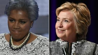 (COMBO) This combination of files photos created on November 3, 2017 shows former DNC Vice-Chair Donna Brazile during Day 2 of the Democratic National Convention at the Wells Fargo Center in Philadelphia, Pennsylvania, July 26, 2016, and former former US  presidential candidate  Hillary Clinton onstage at 'An Evening with Hillary Rodham Clinton'  during the BookExpo on June 1, 2017 in New York.  Explosive revelations by a top Democratic operative that the 2016 primaries were tipped in Hillary Clinton's favor have convulsed the party as it struggles to rebuild, and whipped up accusations of cheating from President Donald Trump. Donna Brazile, the Democratic National Committee's interim chairwoman during key months of the presidential campaign, said Clinton's team essentially took over day-to-day operations of the DNC, in essence rigging the system against Senator Bernie Sanders, who was challenging Clinton for the party's nomination.   / AFP PHOTO / SAUL LOEB AND ANGELA WEISS        (Photo credit should read SAUL LOEB,ANGELA WEISS/AFP/Getty Images)