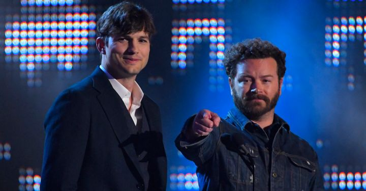 """Actors Ashton Kutcher, left, and Danny Masterson have been working on Part 5 of Netflix's """"The Ranch."""" The co-stars are shown here presenting Collaborative Video of the Year awards in Nashville in July."""