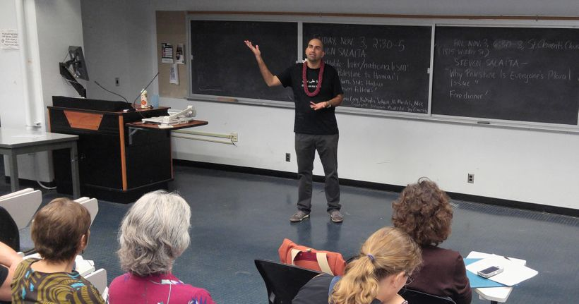 <em>Steven Salaita tells his audience at the University of Hawaiʻi at Mānoa  that he became aware of the indigenous people of