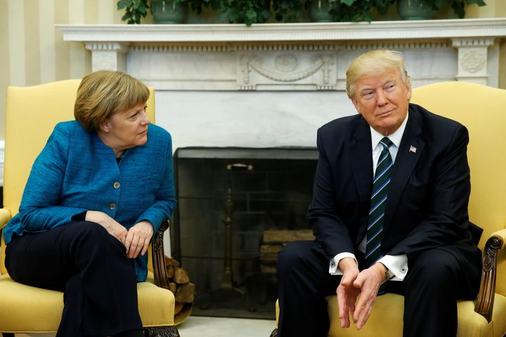 U.S. President Donald Trump meets with German Chancellor Angela Merkel at the White House onMarch 17.