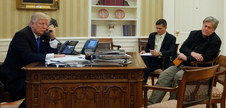 Trump speaks by phone with Australian Prime Minister Malcolm Turnbull in the Oval Office on Jan. 28. (Seatedacross from
