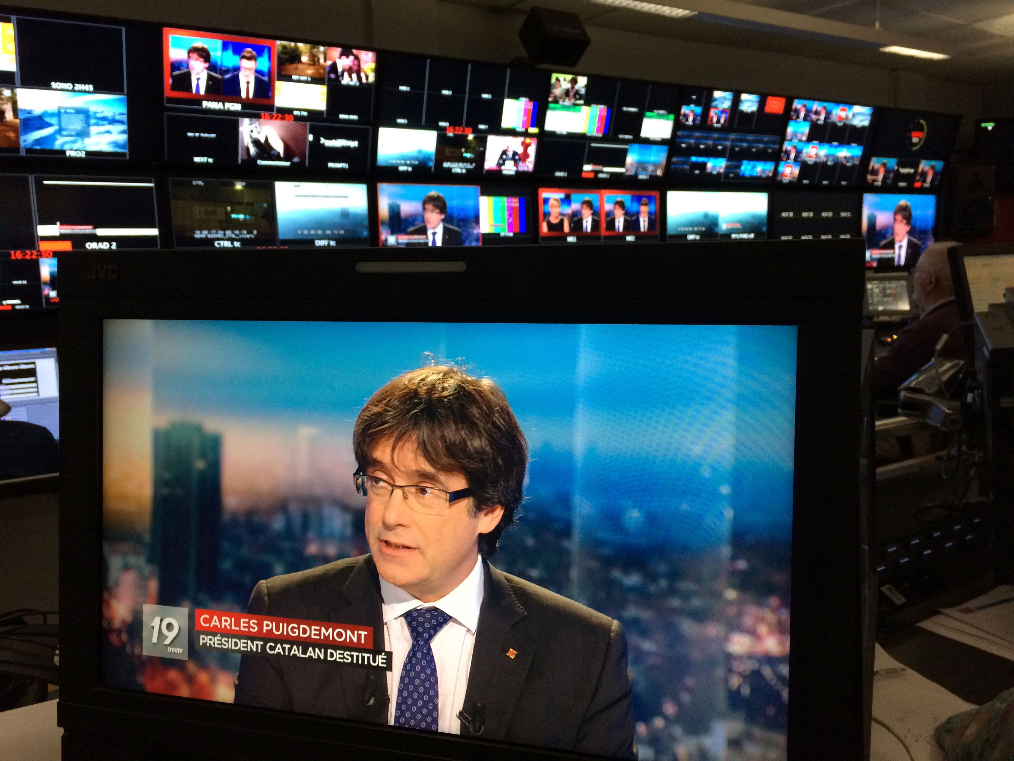 <strong>Puigdemont on a monitor as he is interviewed on Belgian TV last week.</strong>