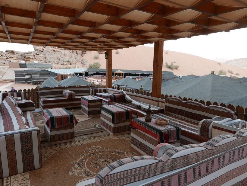 <strong>Canvas oasis—Tent camps are common around Wadi Rum, with traditional food and comfortable lodgings.</strong>