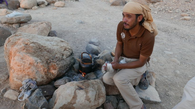 <strong>Desert tea—Black tea brewed with sage on a small fire Bedouin-style. It's served with lots of sugar.</strong>