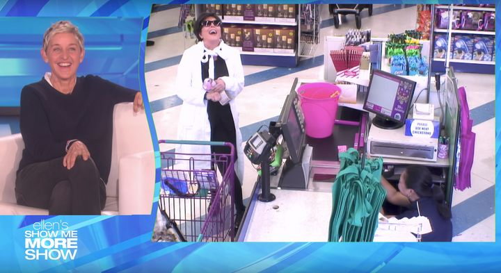 Kris Jenner laughs loudly after telling the cashier, who briefly hid behind the register, that she was being pranked on