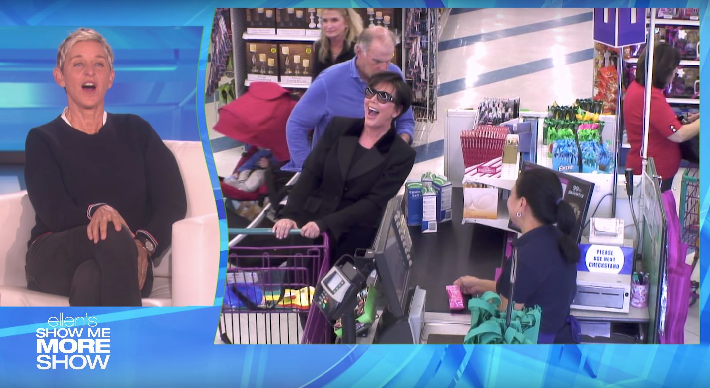 Kris Jenner,who was wearing an earpiece, is seen laughing on cue while shopping at a 99-cent