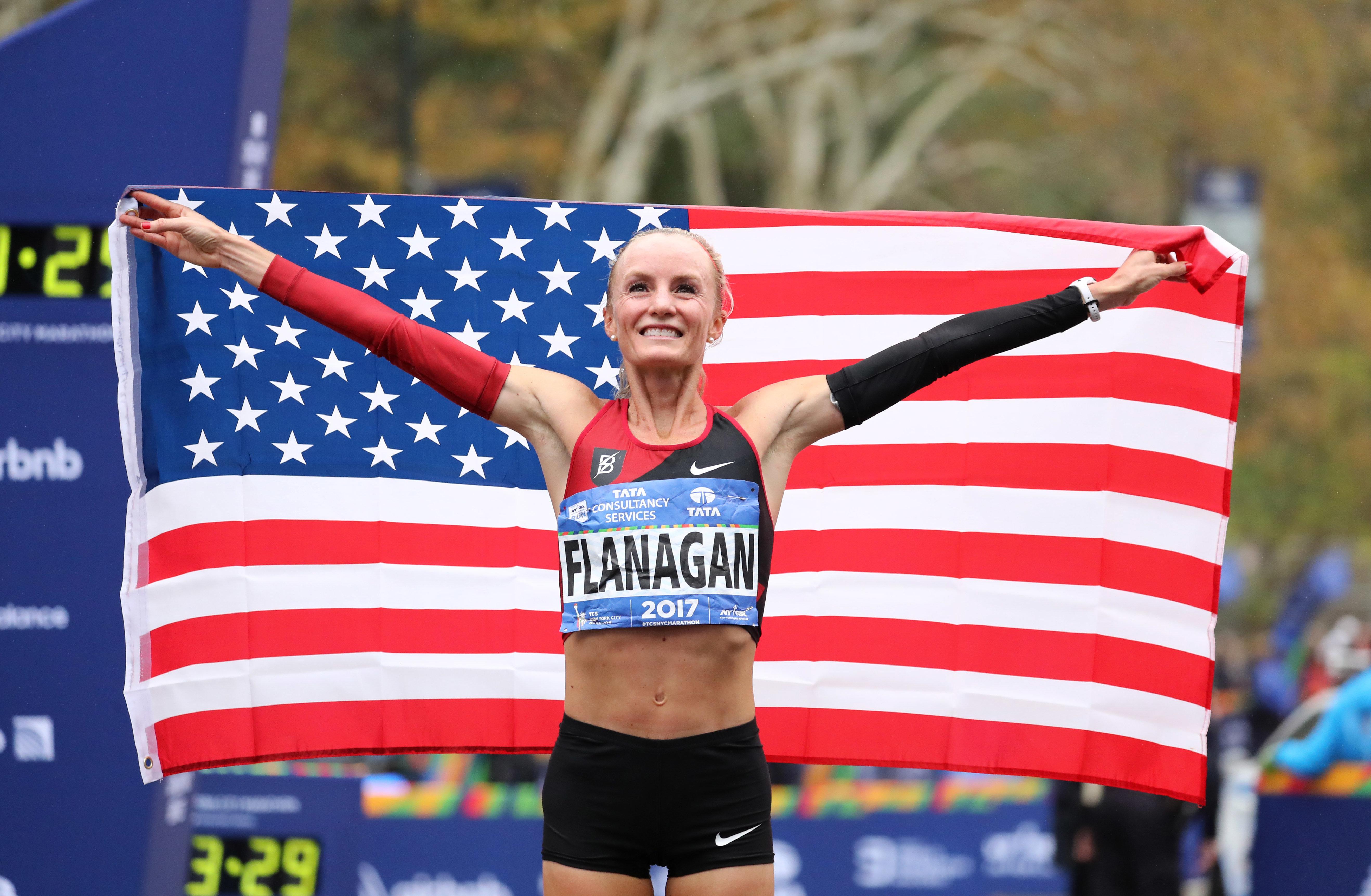 Shalane Flanagan celebrates her victory on Sunday in the New York City Marathon.
