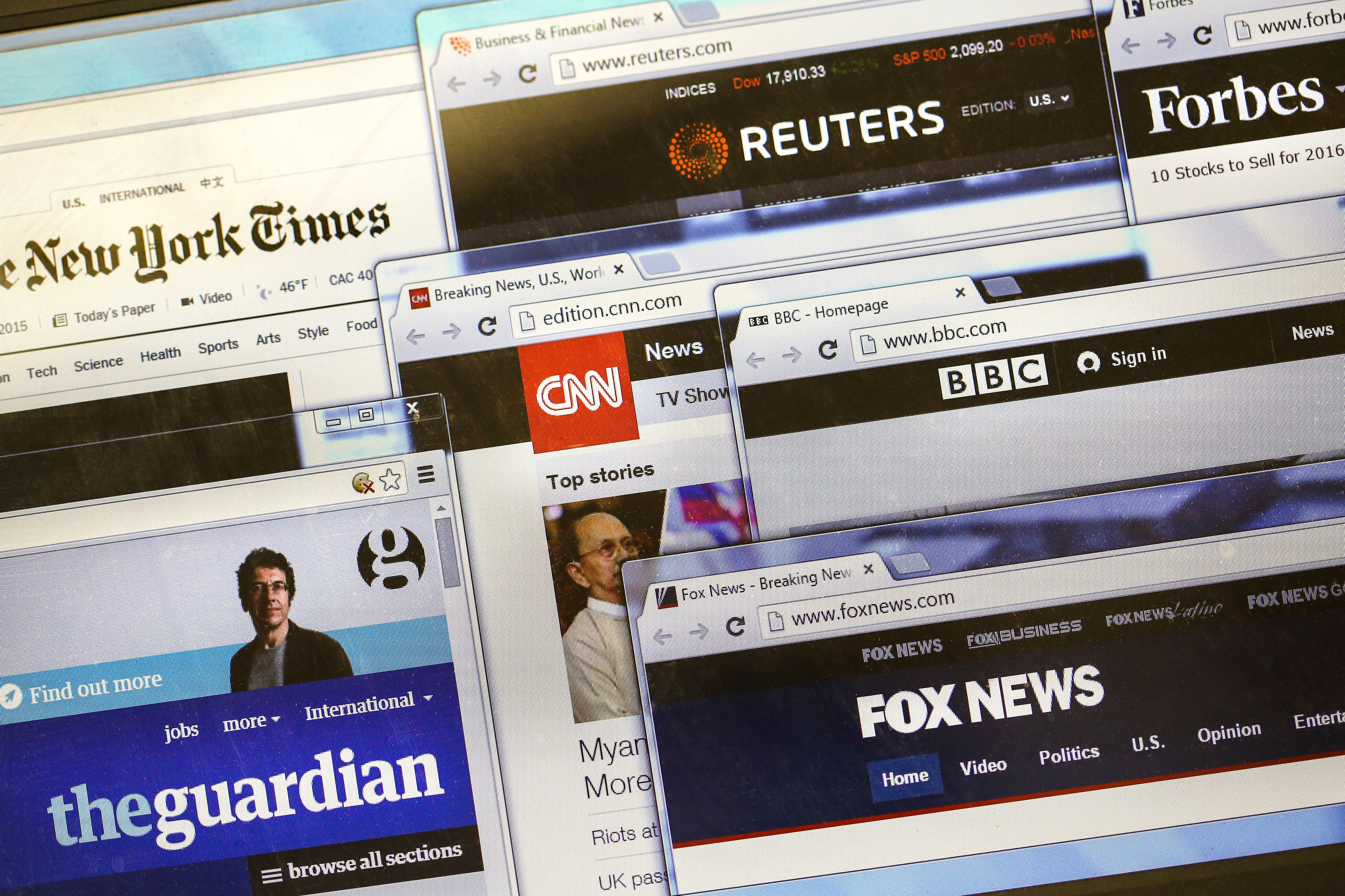 Novi Sad, Serbia - November 9, 2015: Websites (homepages) of leading news websites and publishing media in the world - Reuters, New York Times, CNN, BBC, The Guardian, Forbes, Fox news.