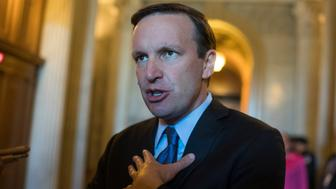 UNITED STATES - OCTOBER 03: Sen. Chris Murphy, D-Conn., talks with reporters in the Capitol after the Senate Policy luncheons on October 3, 2017. (Photo By Tom Williams/CQ Roll Call)