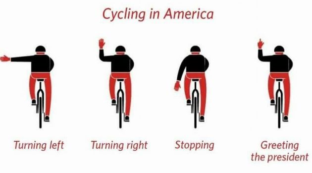 Someone posted this graphic on Juli Briskman's Facebook page after she flipped off the president's motorcade....