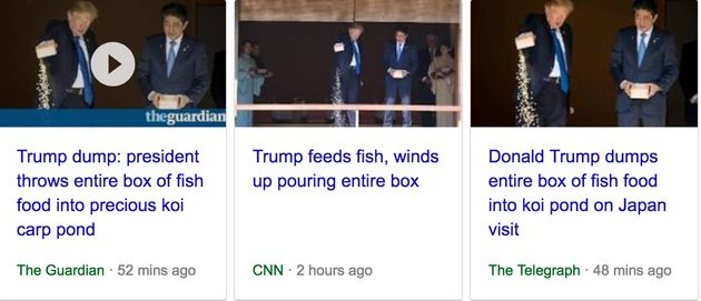 Reports of Trump's fish feeding event focussed on his overzealous pouring