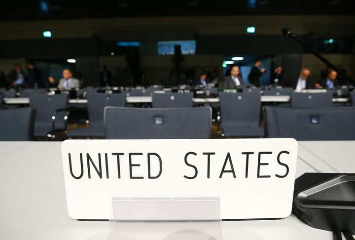 Empty seats of U.S. delegation are seen before the opening session of the COP23 UN Climate Change Conference 2017, hosted by