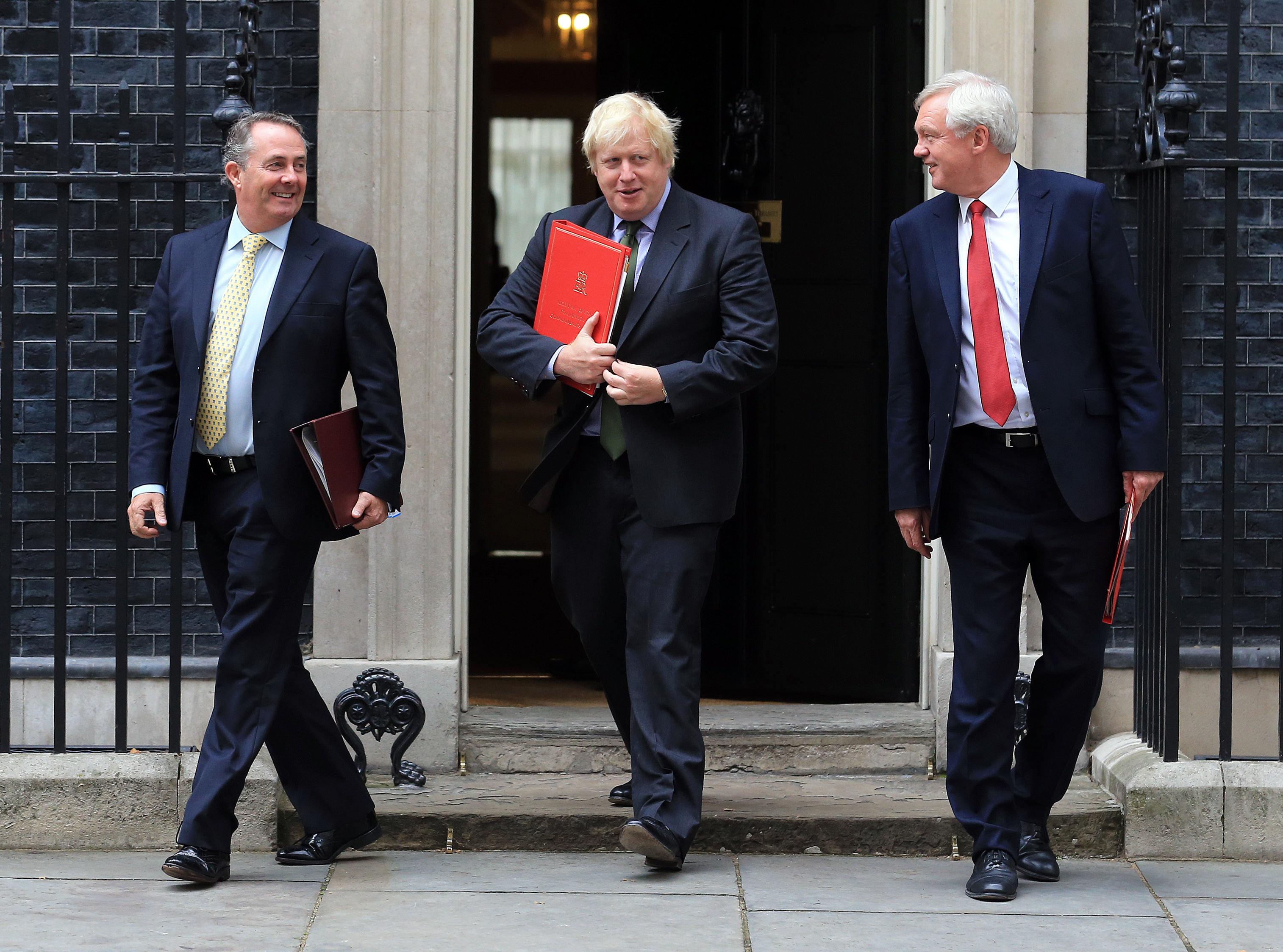 <strong>The three Brexiteers, International Trade Secretary Liam Fox, Foreign Secretary Boris Johnson and Brexit Secretary David Davis (l-r)&nbsp;</strong>