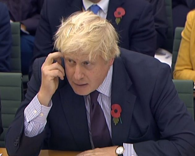 Foreign Secretary Boris Johnson giving