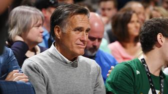 SALT LAKE CITY, UT - OCTOBER 18:  Former Governor of Massachusetts Mitt Romney attends the game between the Denver Nuggets and the Utah Jazz on October 18, 2017 at vivint.SmartHome Arena in Salt Lake City, Utah. NOTE TO USER: User expressly acknowledges and agrees that, by downloading and or using this Photograph, User is consenting to the terms and conditions of the Getty Images License Agreement. Mandatory Copyright Notice: Copyright 2017 NBAE (Photo by Garrett Ellwood/NBAE via Getty Images)