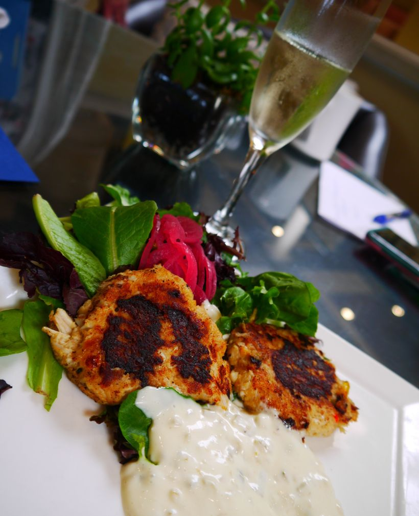 Crab cakes via the King an Prince Resort Restaurant ECHO