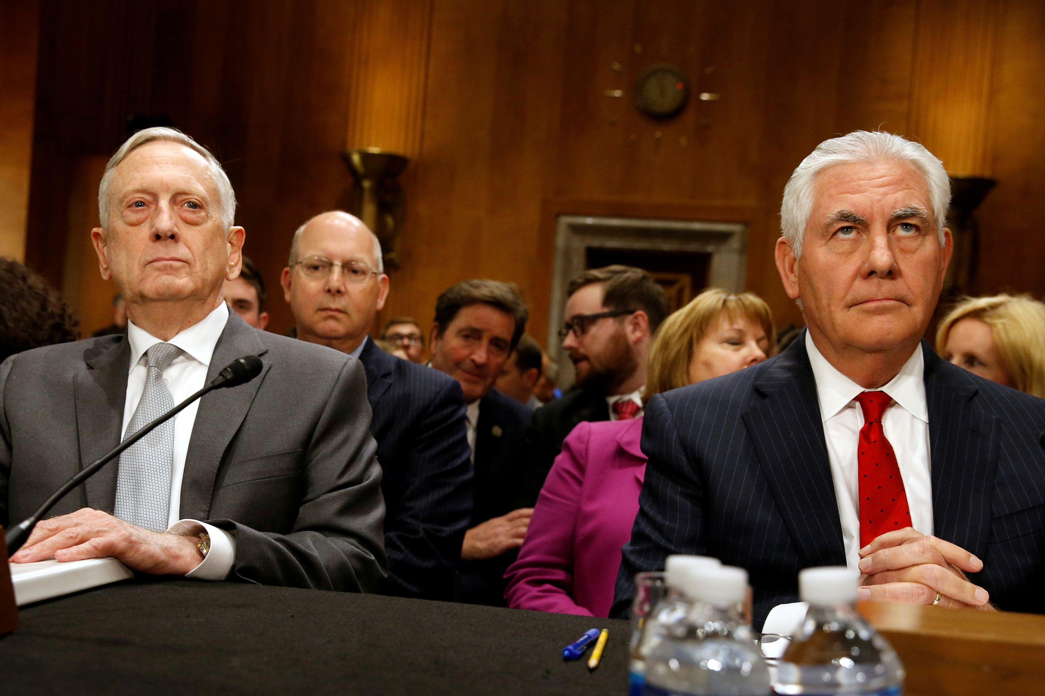 U.S. Defense Secretary James Mattis and Secretary of State Rex Tillerson testify about authorizations for the use of military force before the Senate Foreign Relations Committee on Capitol Hill in Washington, U.S. October 30, 2017.  REUTERS/Jonathan Ernst     TPX IMAGES OF THE DAY