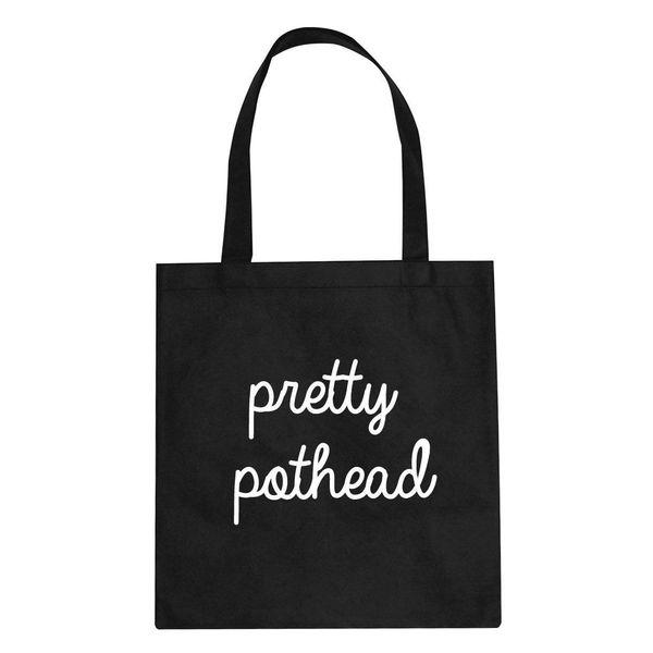 """Pothead tote, $12 at <a href=""""https://www.etsy.com/listing/526178346/pretty-pothead-cursive-script-tote-bag?ga_order=most_rel"""