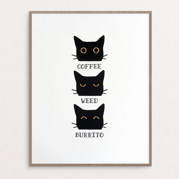 "Weed cat print, $22 at <a href=""https://www.etsy.com/listing/258772005/art-print-coffee-weed-burrito-cat-8x10?ga_order=most_r"