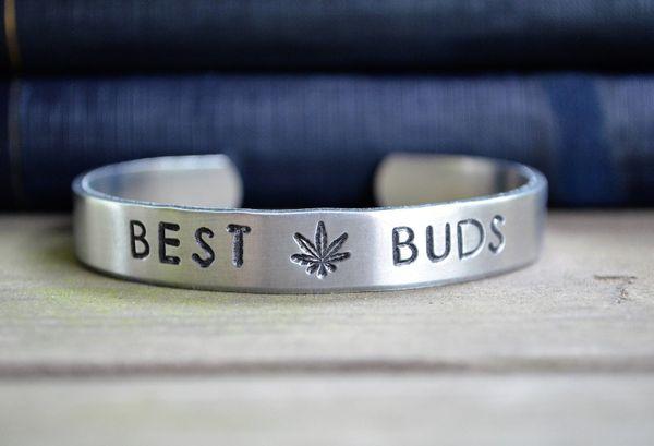 "BFF cuff, $18 at <a href=""https://www.etsy.com/listing/563606593/best-buds-bracelet-marijuana-jewelry?ga_order=most_relevant&"