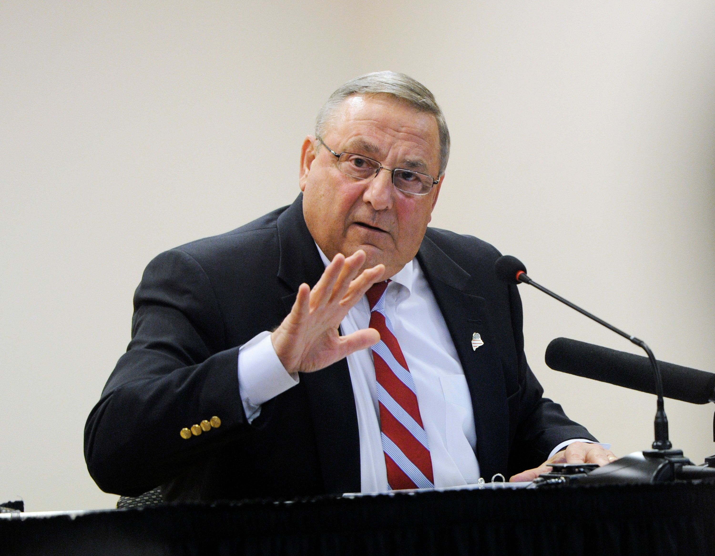 AUBURN, ME - OCTOBER 21: Maine Governor Paul LePage speaks at Central Maine Community College about his central themes of tax reduction, welfare reform and lowering college costs for Maine students. (Photo by Derek Davis/Portland Press Herald via Getty Images)