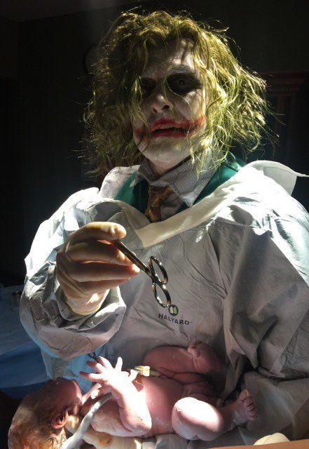 Dr Paul Locus an obstetrician in Tennessee delivered a healthy baby girl while dressed like The Joker on Halloween
