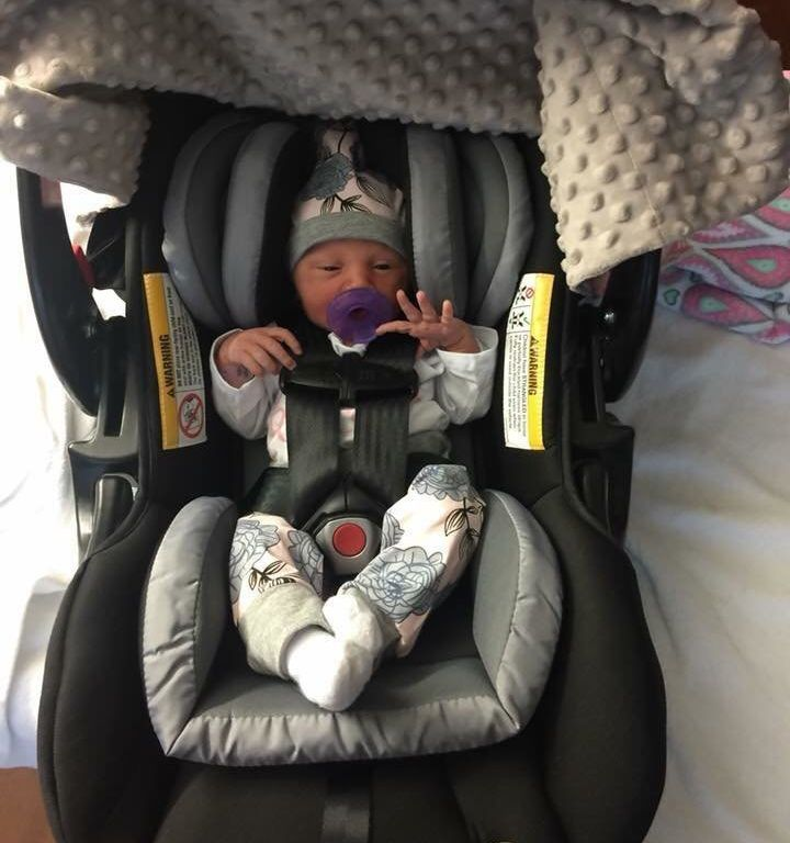 Little Oaklyn will have quite a story to tell her friends after being delivered by a doctor dressed as The Joker.