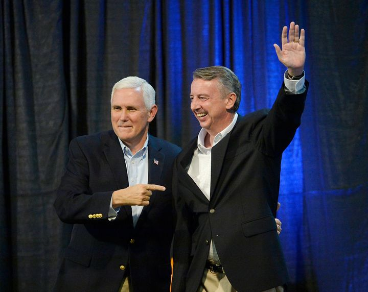 Vice President Mike Pence joined fellow Republican Ed Gillespie at a rally in Abingdon, Virginia, on Oct. 14, 2017. Gillespie