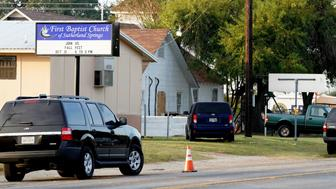 The site of a shooting at the First Baptist Church of Sutherland Springs, Texas, U.S. November 6, 2017.  REUTERS/Rick Wilking