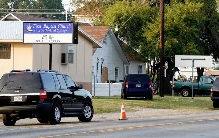 The site of a shooting at the First Baptist Church of Sutherland Springs, Texas.