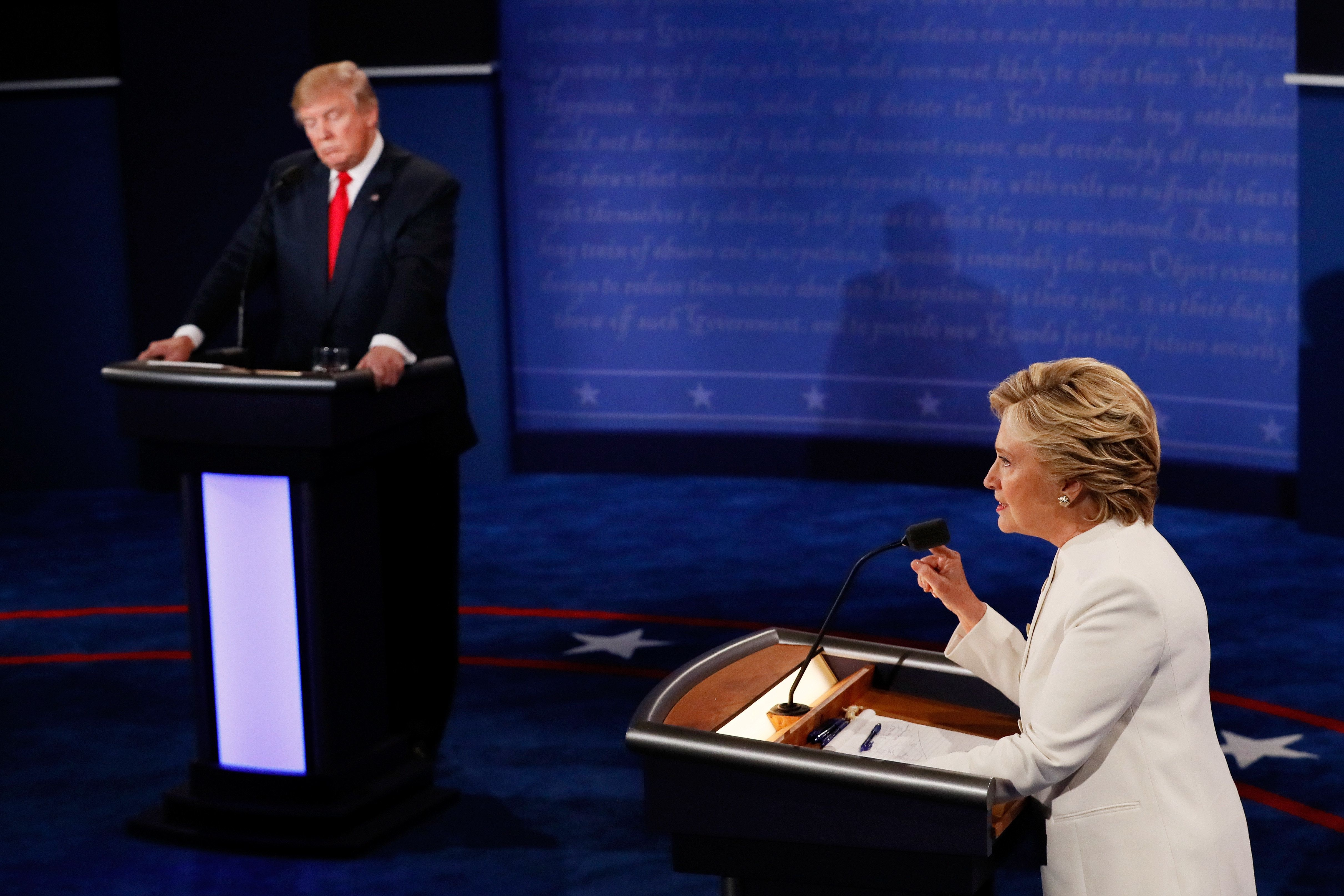 LAS VEGAS, NV - OCTOBER 19:  Democratic presidential nominee former Secretary of State Hillary Clinton (R) debates with Republican presidential nominee Donald Trump during the third U.S. presidential debate at the Thomas & Mack Center on October 19, 2016 in Las Vegas, Nevada. Tonight is the final debate ahead of Election Day on November 8.  (Photo by Mark Ralston-Pool/Getty Images)