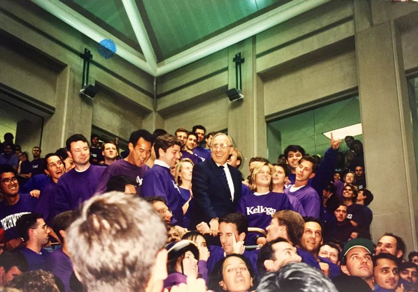 In 1994, celebrating the opening of the new atrium with Dean Don Jacobs (center).