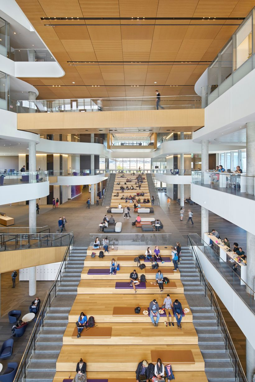 The newly finished Collaboration Plaza atrium at The Kellogg Graduate School of Business.