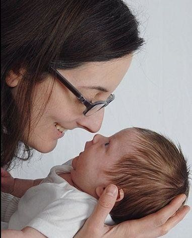 Notareschi was also in the throes of postpartum OCD when she took this happy-looking photo with her newborn...