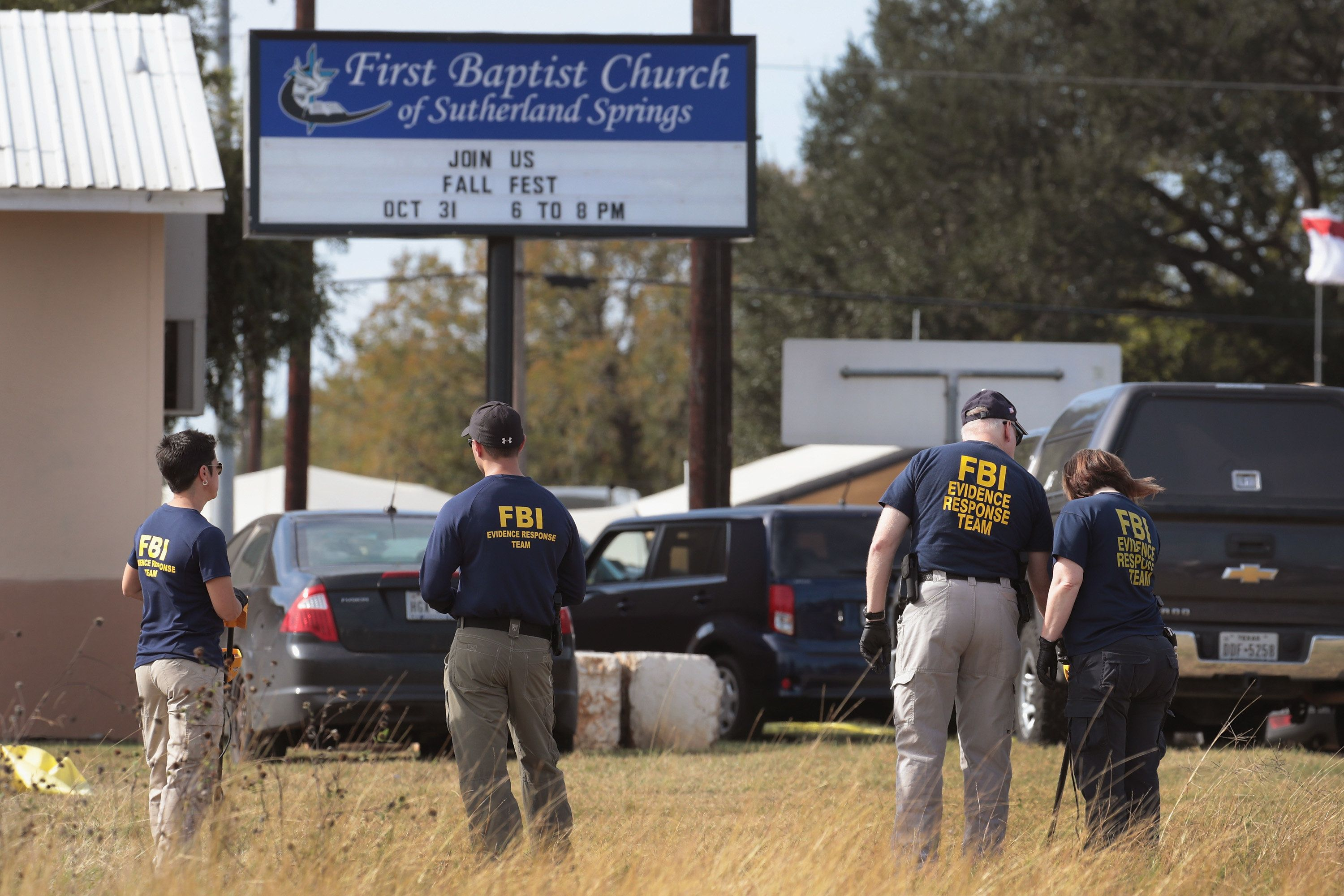 SUTHERLAND SPRINGS, TX - NOVEMBER 06:  Law enforcement officials continue their investigation at the First Baptist Church of Sutherland Springs on November 6, 2017 in Sutherland Springs, Texas. On November 5 a gunman, Devin Patrick Kelley, killed 26 people at the church and wounded 20 others when he opened fire during a Sunday service.  (Photo by Scott Olson/Getty Images)