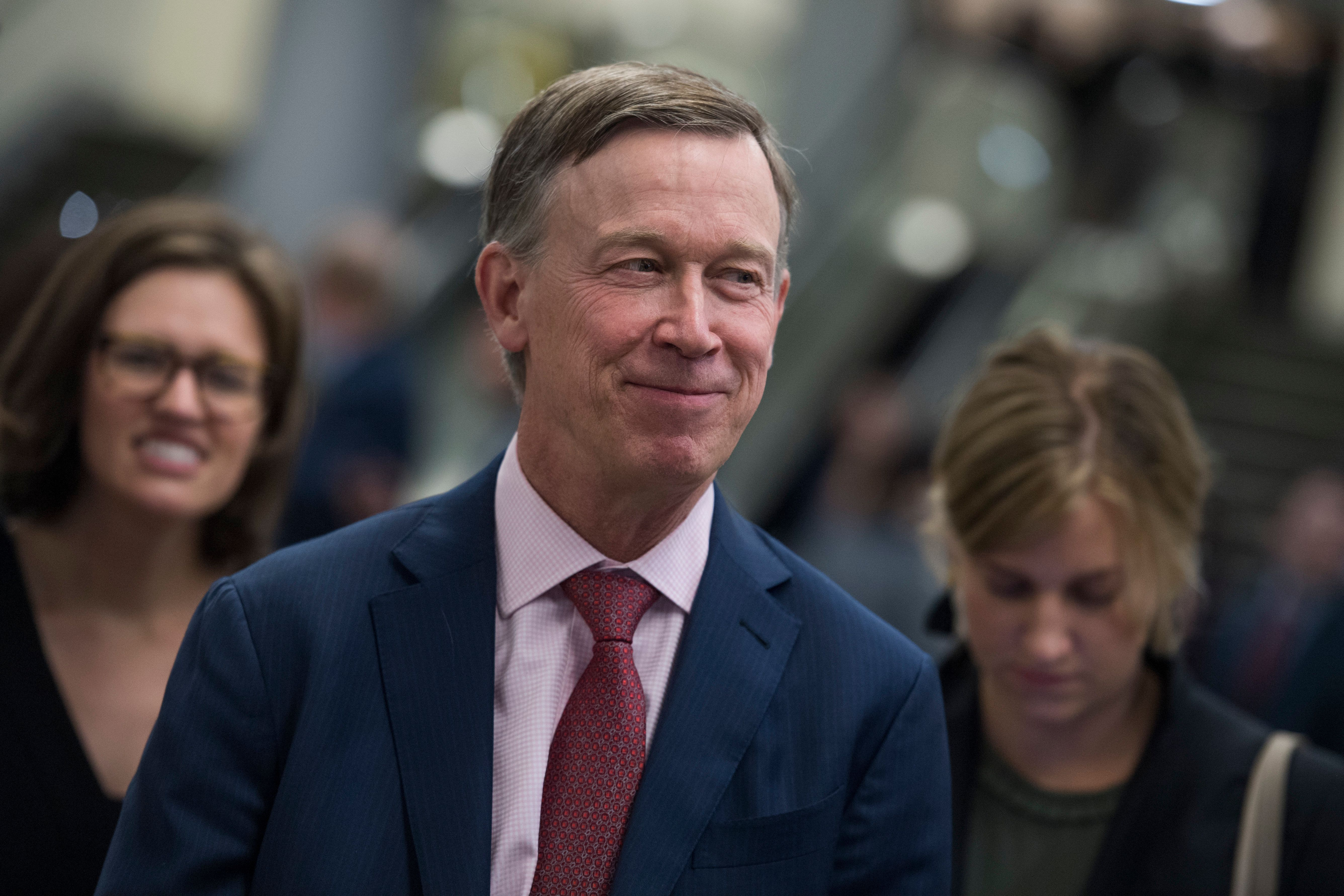 UNITED STATES - SEPTEMBER 07: Gov. John Hickenlooper, D-Colo., is seen in the senate subway in the Capitol on September 7, 2017. (Photo By Tom Williams/CQ Roll Call)