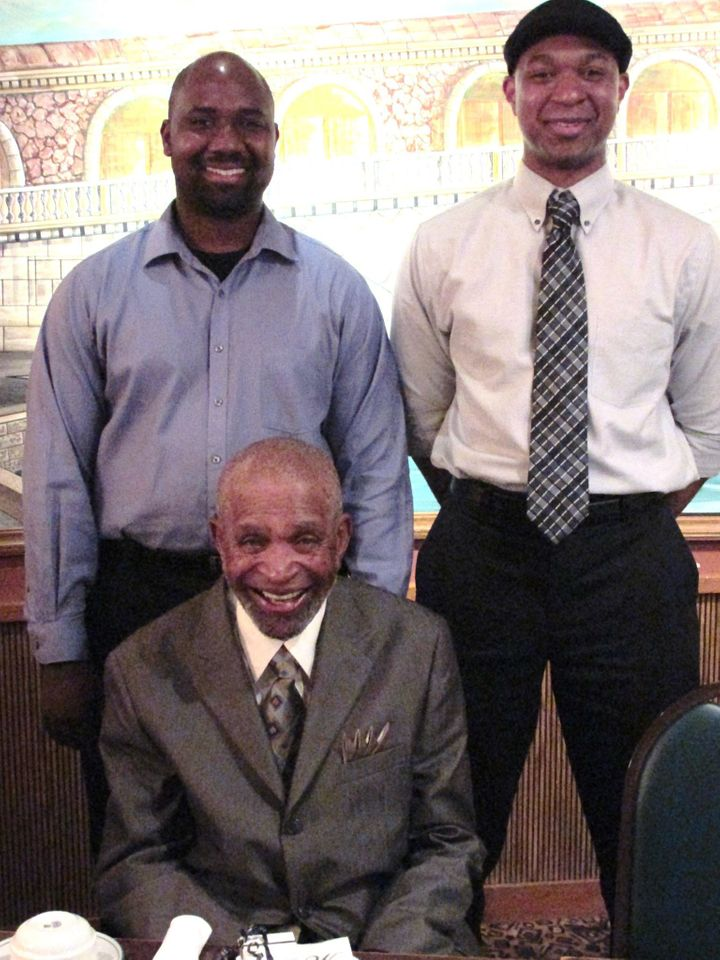 Trey Miller (left), Barney Pace (bottom), and I (right) pose for thephoto.