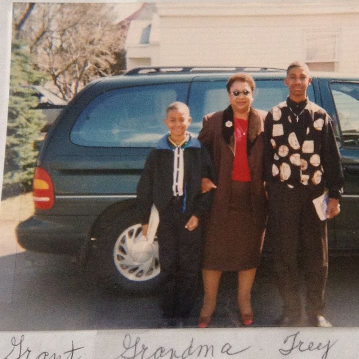 Trey (right) and I (left) pose with Elene Crosby, my grandmother, in our childhood Stratford driveway.