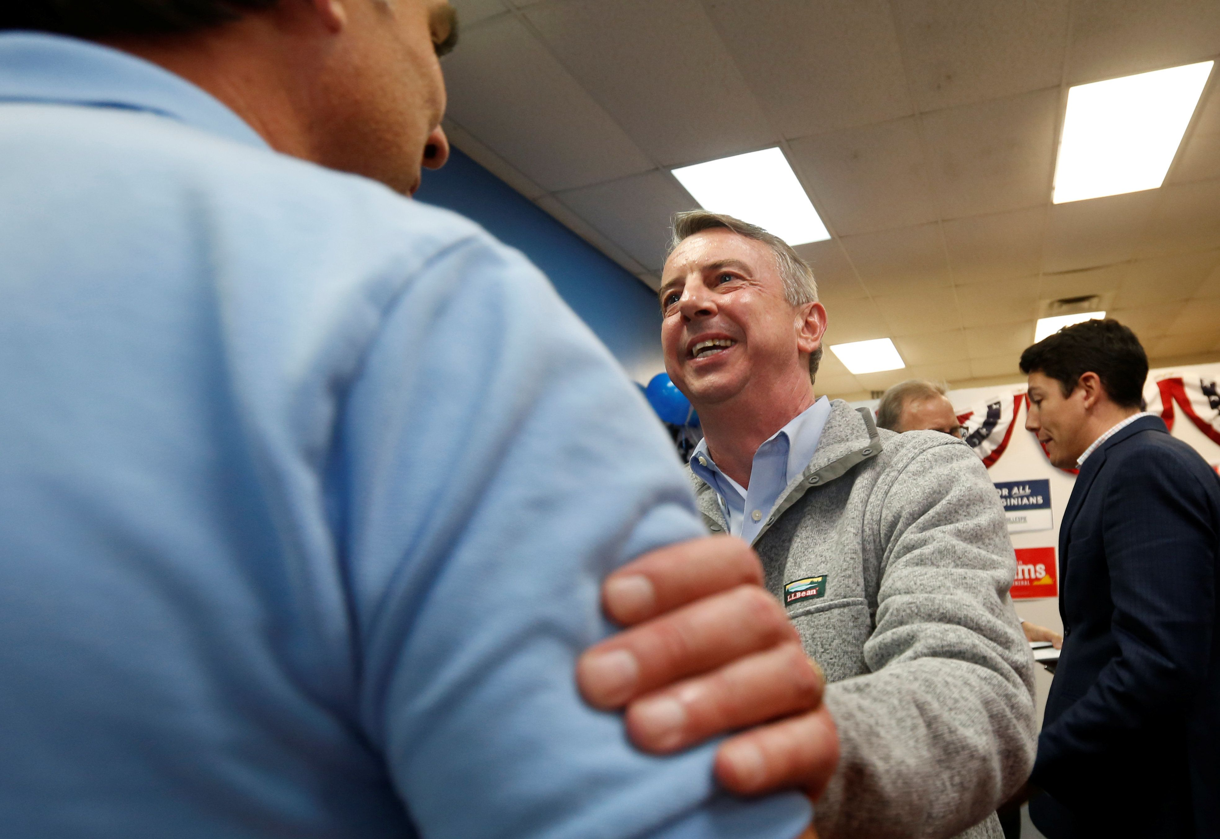 Republican Party contender Ed Gillespie, who is campaigning to be elected as Virginia's governor, greets supporters during a rally in Chesapeake, Virginia, U.S. November 6, 2017.  REUTERS/Julia Rendleman