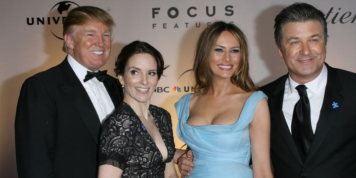 Donald Trump, Tina Fey, Melania Trump and Alec Baldwin, photographed together at the 2007 Golden Globes.
