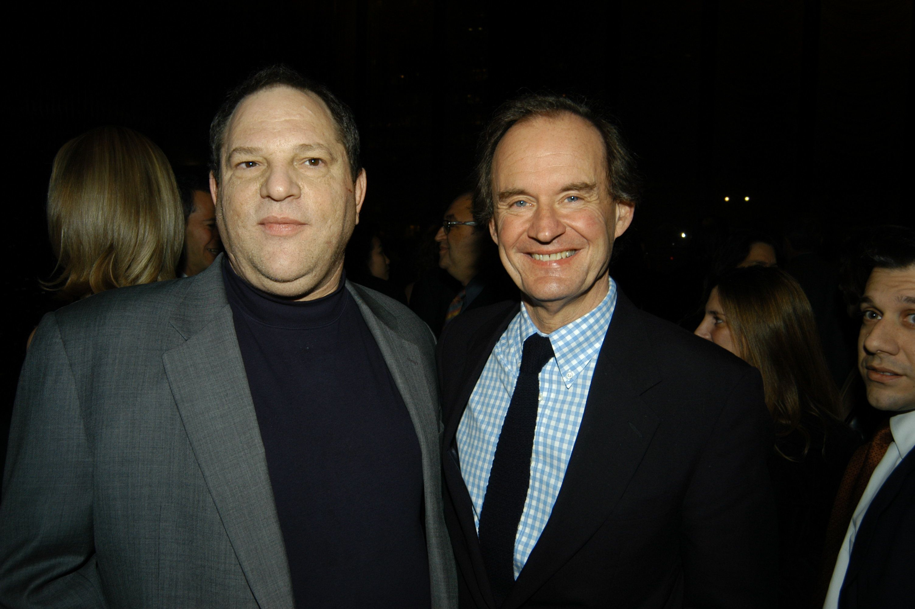NEW YORK, NY - DECEMBER 18: Harvey Weinstein and David Boies attend Miramax Books Party for Rudolph Giuliani and his newest book 'Leadership' at Four Seasons Hotel on December 18, 2002 in New York City. (Photo by Patrick McMullan/Patrick McMullan via Getty Images)
